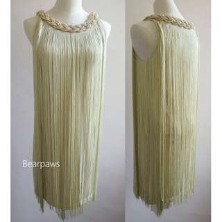 Grecian Choker Fringe Bridesmaids Flapper Wedding Dinner Party Dress - S