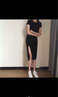 短袖連身開叉裙