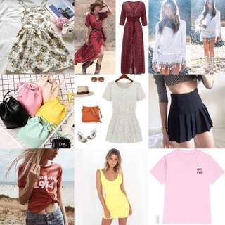 ALL READY STOCKS!!!! Maxi Dress, Bohemian dress, bodycon dress, tumblr tees, tennis skirts, lace romper, floral dress and bucket bags!