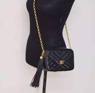 Chanel classic black caviar mini 20cm camera bag with 24k gold hardware