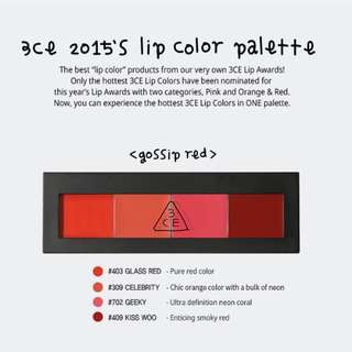 💄💋3CE Lip Color Palette Gossip Red (brand new with box)