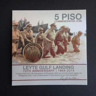 5 Piso Leyte Gulf Landing 70th Anniversary commemorative coin in blister pack