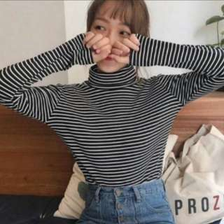 [INSTOCKS] Stripes Basic High Neck Long Sleeves Top