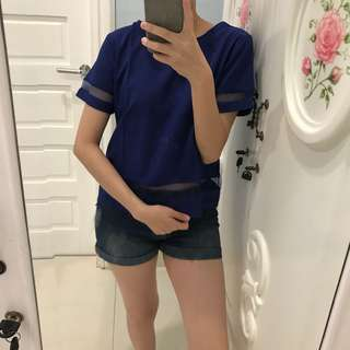 Blue blouse sheer top