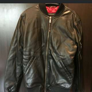 Zara Man Black Leather Bomber Jacket (S)