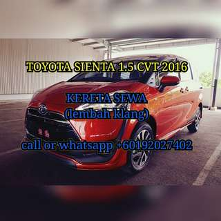 Toyota Sienta 1.5V CVT 2016 for rental