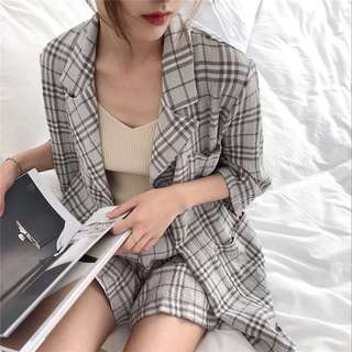 Summer Korean casual plaid long-sleeved suit jacket suit women + elastic waist wide leg shorts fashion two-piece