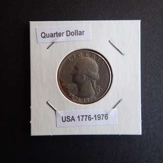 Quarter Dollar (US) 1776-1976 commemorative coin in coin holder