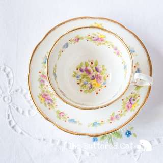 Pretty vintage English bone china cabinet cup and saucer, hand-decorated florals