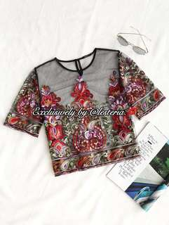 *INSTOCK* Floral Embroidery Mesh Organza Top (Red)