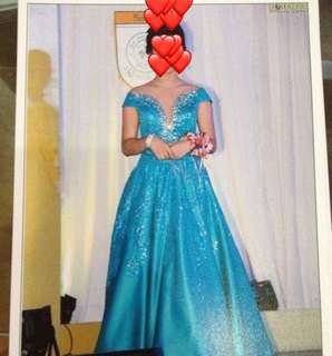 GOWN FOR RENT: SHIMMERY BLUE-GREEN GOWN