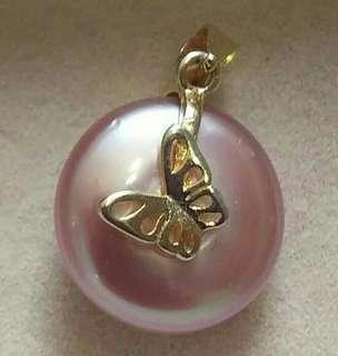 可議價,天然粉紅色鈕扣珍珠吊咀一棵925銀(鍍金)自已設計只得一件