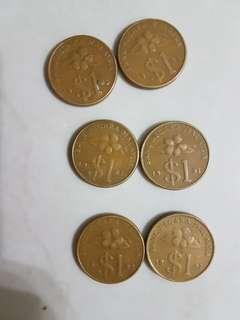 Duit Syiling lama RM1 x 6 pcs