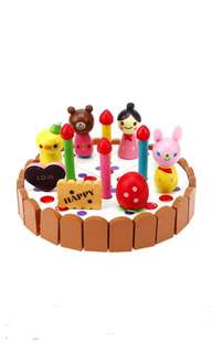 *In Stock* BN Wooden Tea Party Birthday Cake Decoration Play Toy Set
