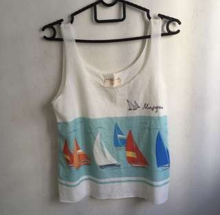 graphic cropped top/singlet/tank
