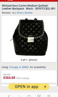 Repriced Authentic Michael Kors Carine Quilted leather backpack