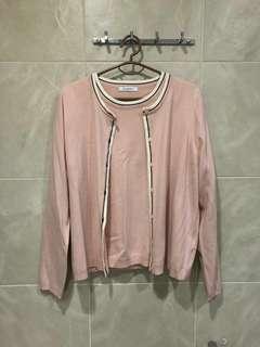 M&S pastel baby Pink Cardigan and Shirt Set
