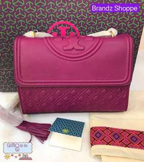 🌟🌟🌟ON SALE! 💯% Original Tory Burch Fleming Convertible Shoulder Bag (Deep Pink) Ready Stock!!! 🌟🌟🌟