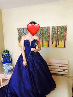 BALL GOWN FOR RENT: ELEGANT NAVY BLUE GOWN