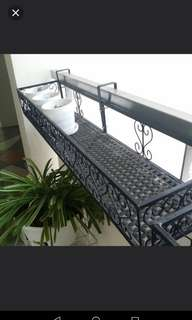 Black rectangular long sturdy plant pot stand corridor hang