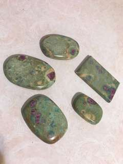 ruby in fuchsite crystal worry stone