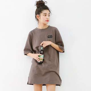 po; ulzzang 'star wars' printed tumbr tee dress