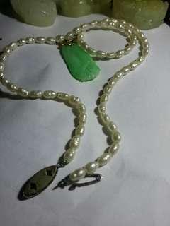 古董珍珠頸鍊 百年手工翡翠吊墜
