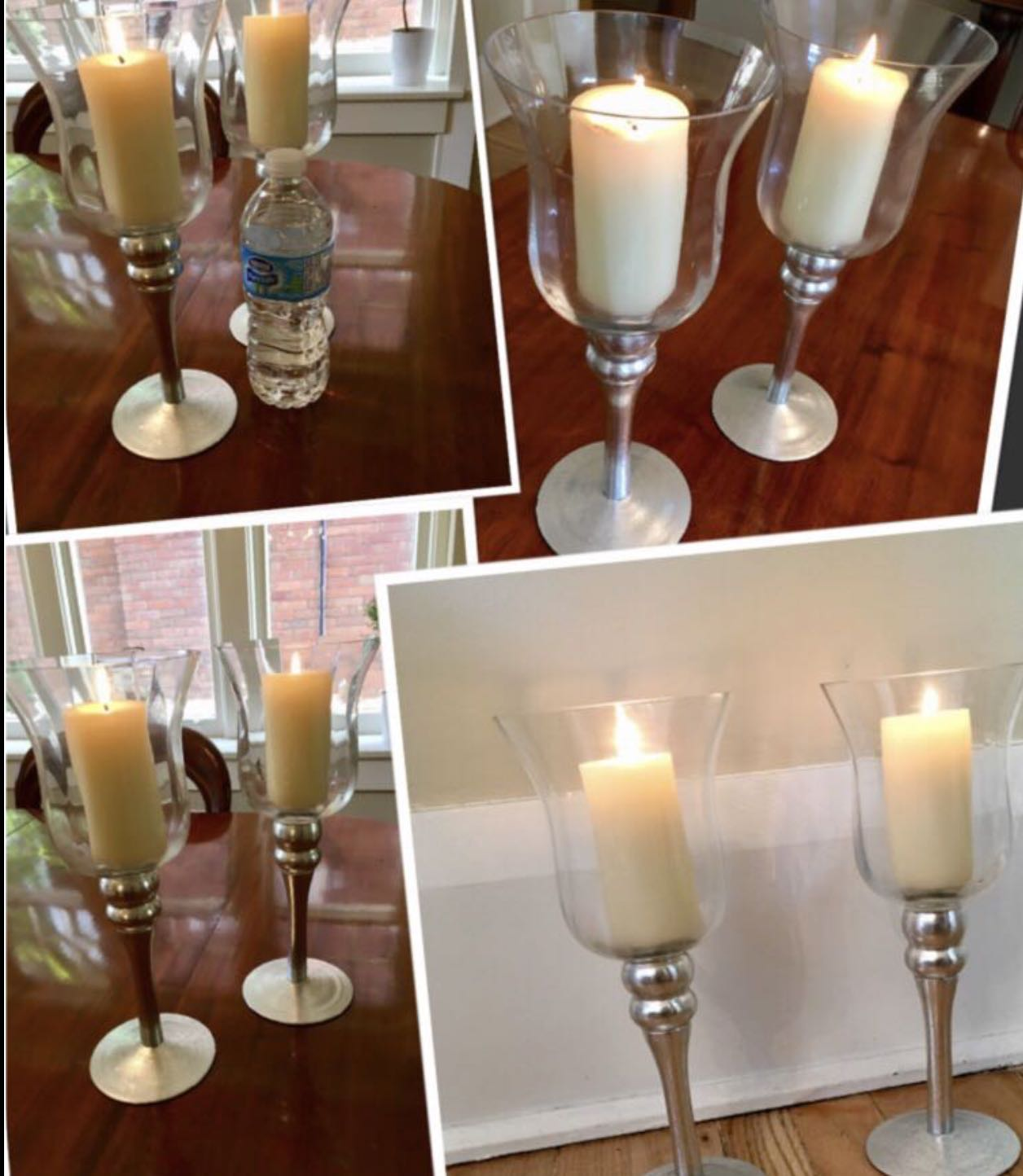 ***2 stunning glass and silver color candle holders with 2 candles
