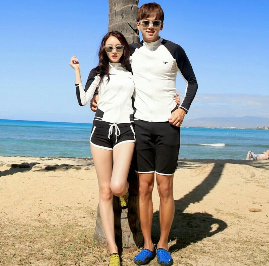 現貨韓版男女情侶長袖防曬兩件式泳裝