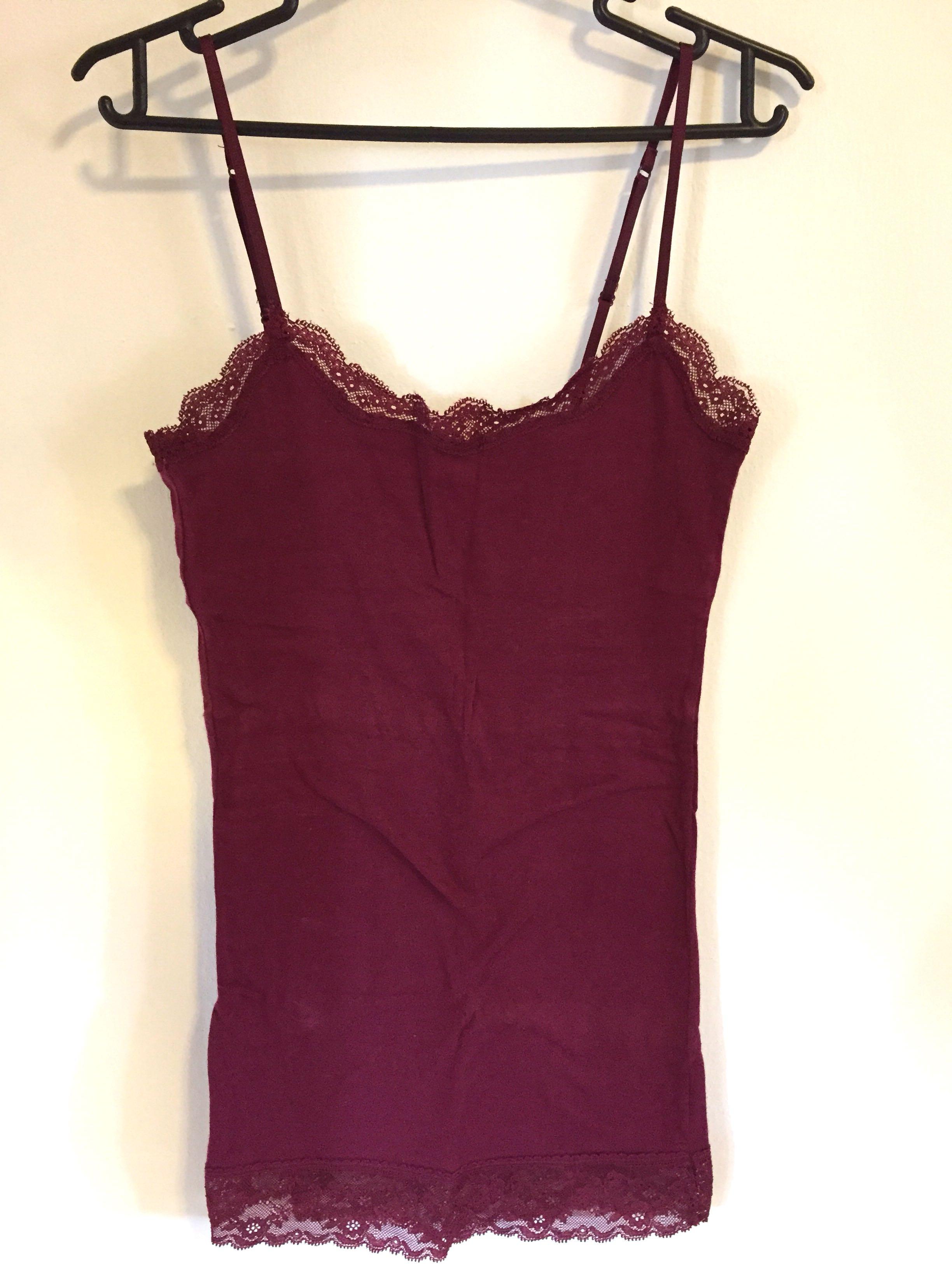 f108703fa9bb3 Aeropostale Basic Lace Cami Tank Top (Wine Red)