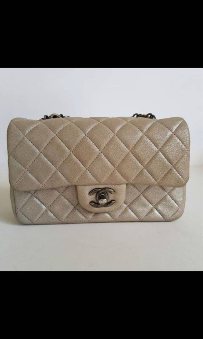 Authentic CHANEL champagne goatskin rectangular mini