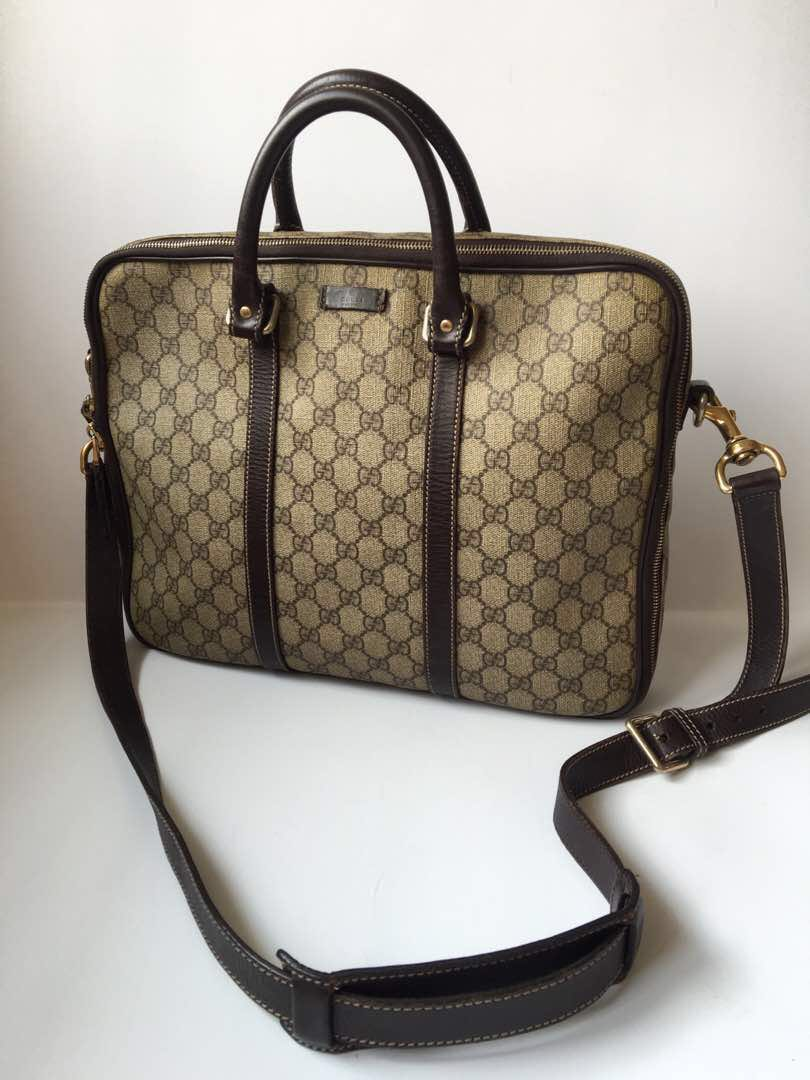 1c3e52476fbf Authentic Gucci Supreme Canvas GG Briefcase Laptop Travel Messenger Bag,  Luxury, Bags & Wallets on Carousell