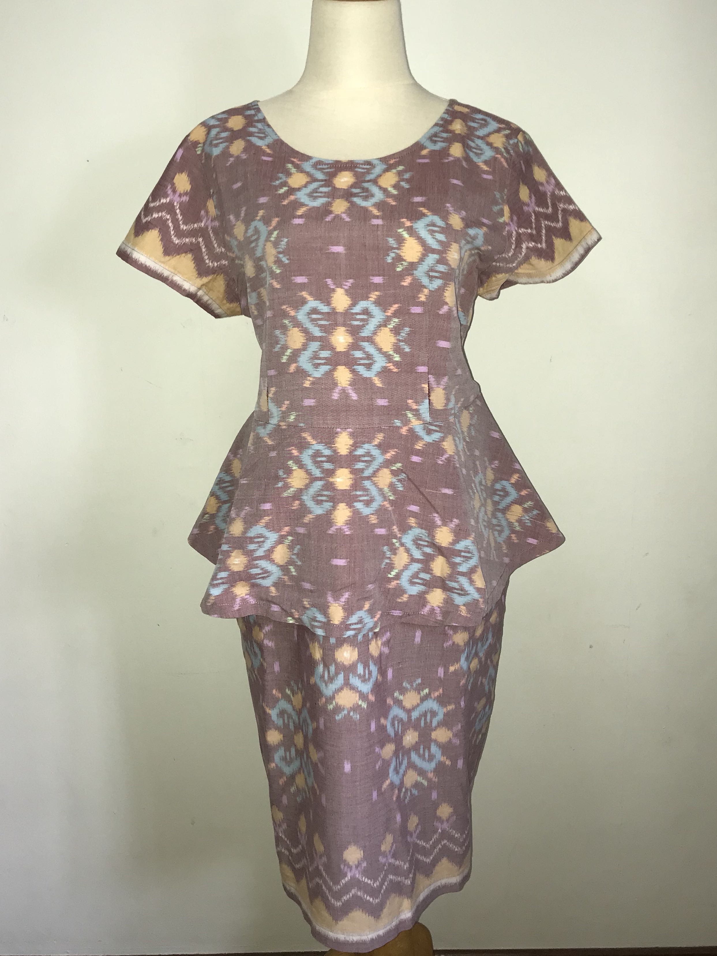 Batik Dusty Rose Peplum Dress (Plus Size), Women\'s Fashion, Clothes ...