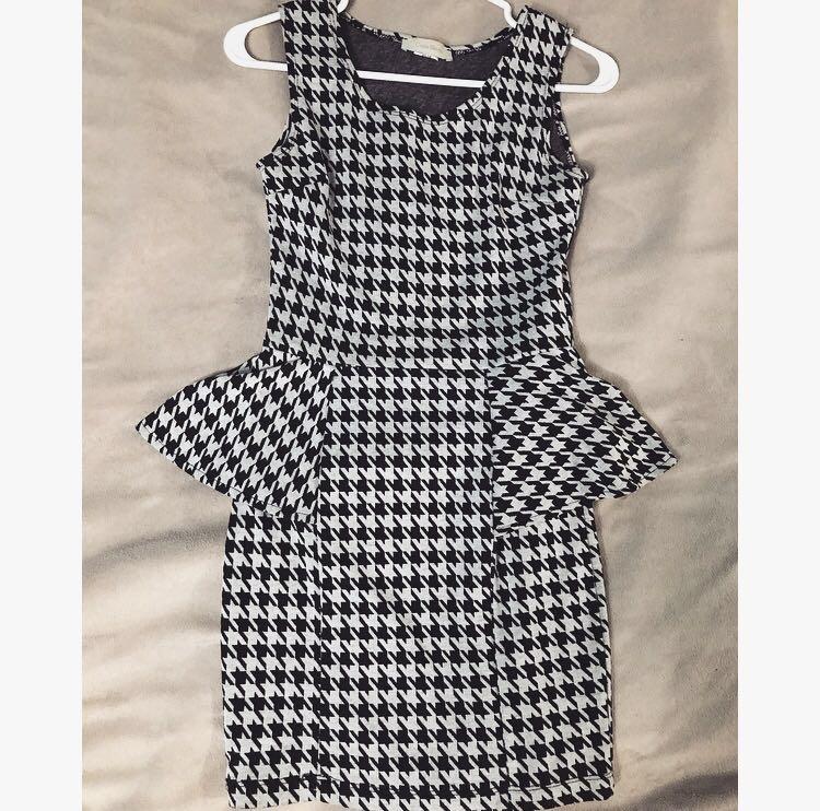Black/White Peplum Dress