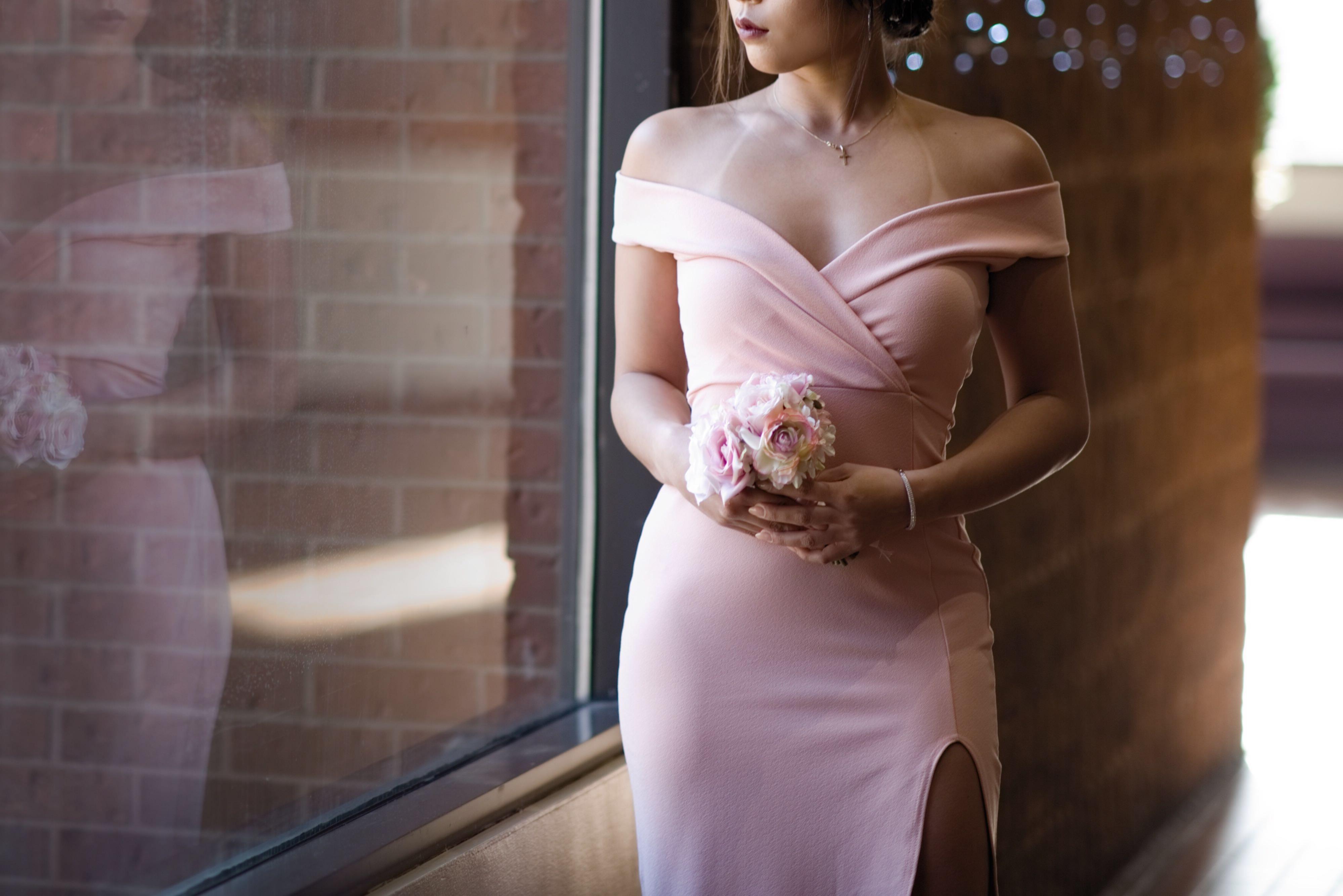 Boohoo Blush Bardot Dress S