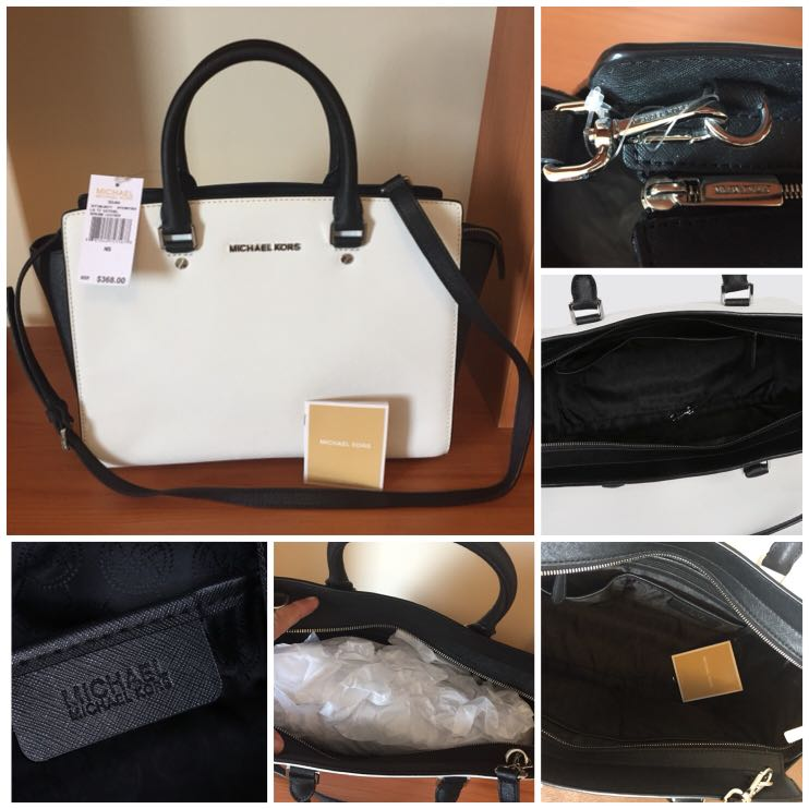 BRAND NEW with TAGS Michael Kors Selma Large White / Black Top Zip Leather Satchel