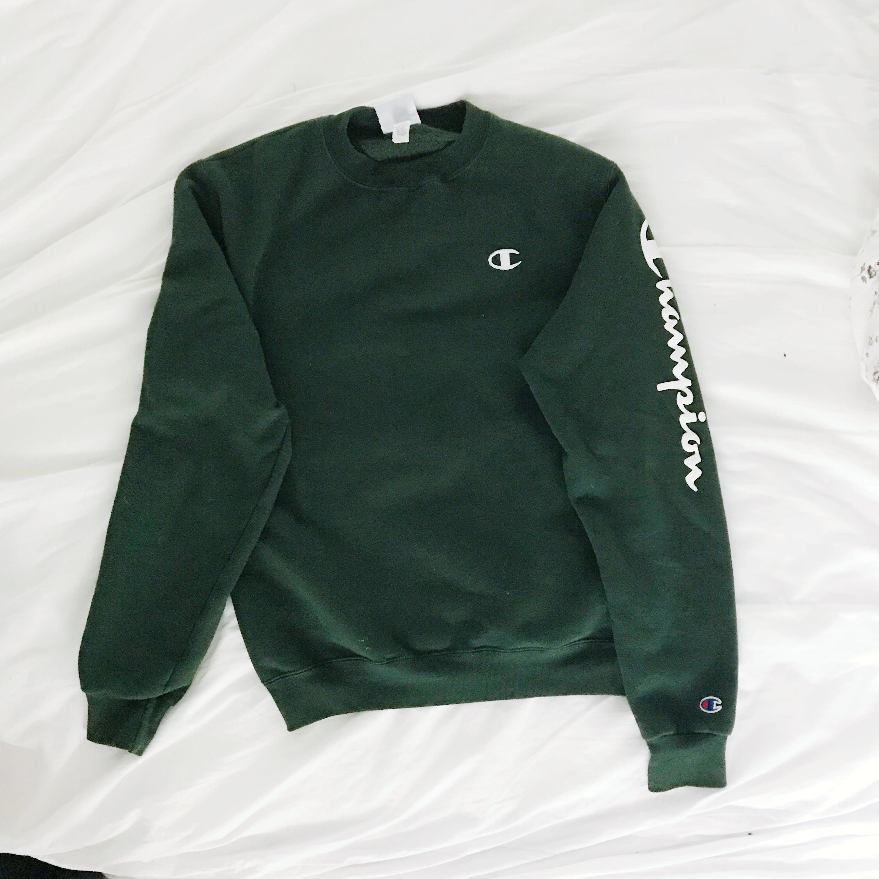 Champion Dark Green Crew-Neck Sweatshirt