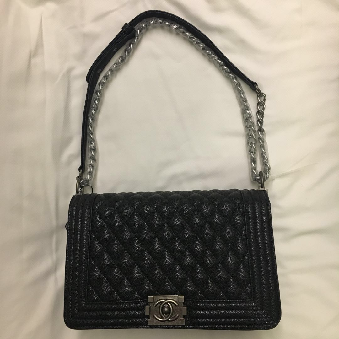 a9a95fc735b Chanel Le Boy Large Caviar Black Silver Hardware Premium Copy ...