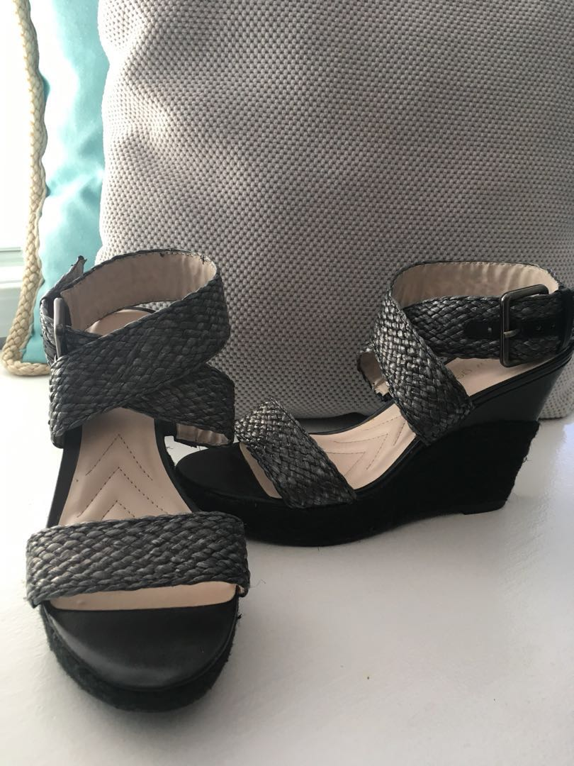 Charcoal/Black Wedge Sandals