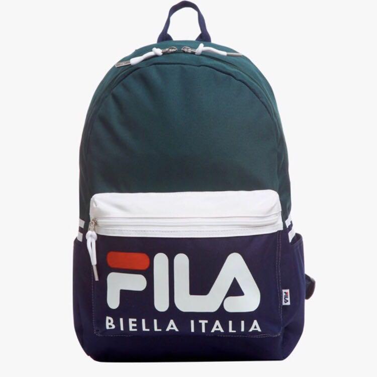 FILA Biella Italia Tri Tone Colourblock Logo Backpack