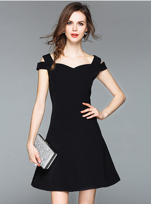 8ca24c0f2555 Black Stylish Off Shoulder Square Collar A-Line Dress (S   M   L ...