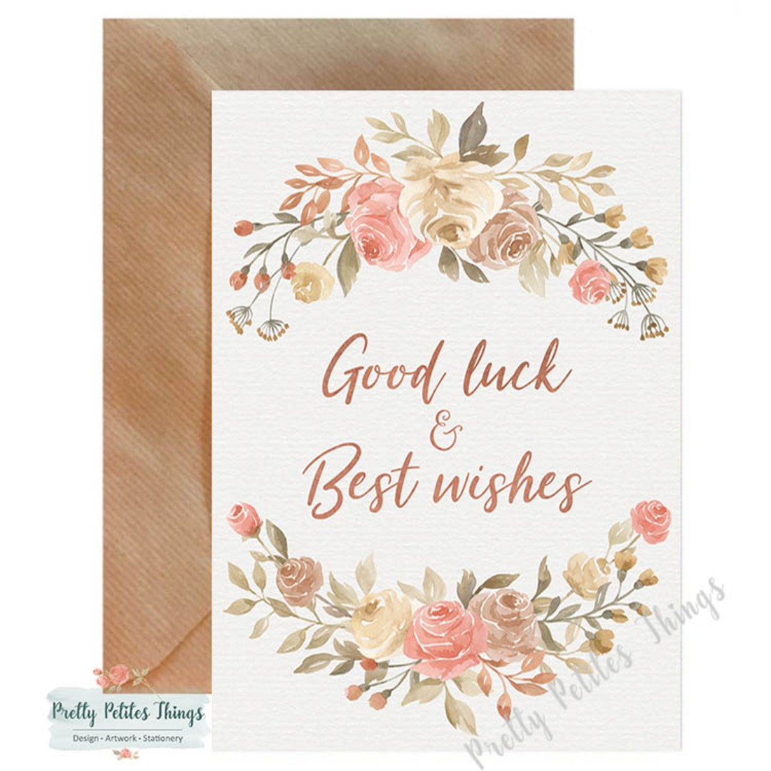 Handcrafted Watercolour Floral Farewell Card Good Luck And Best
