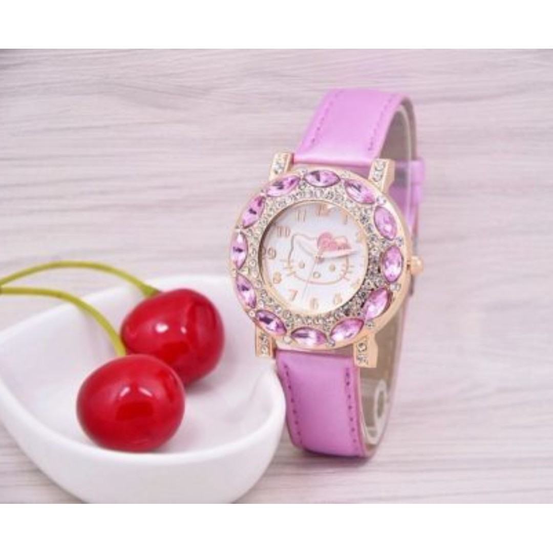 Hello kitty Pink watch for girls leather strap dress rhinestone