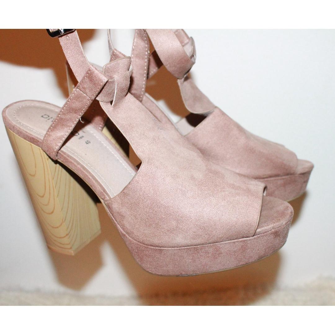 H&M purple faux suede heels