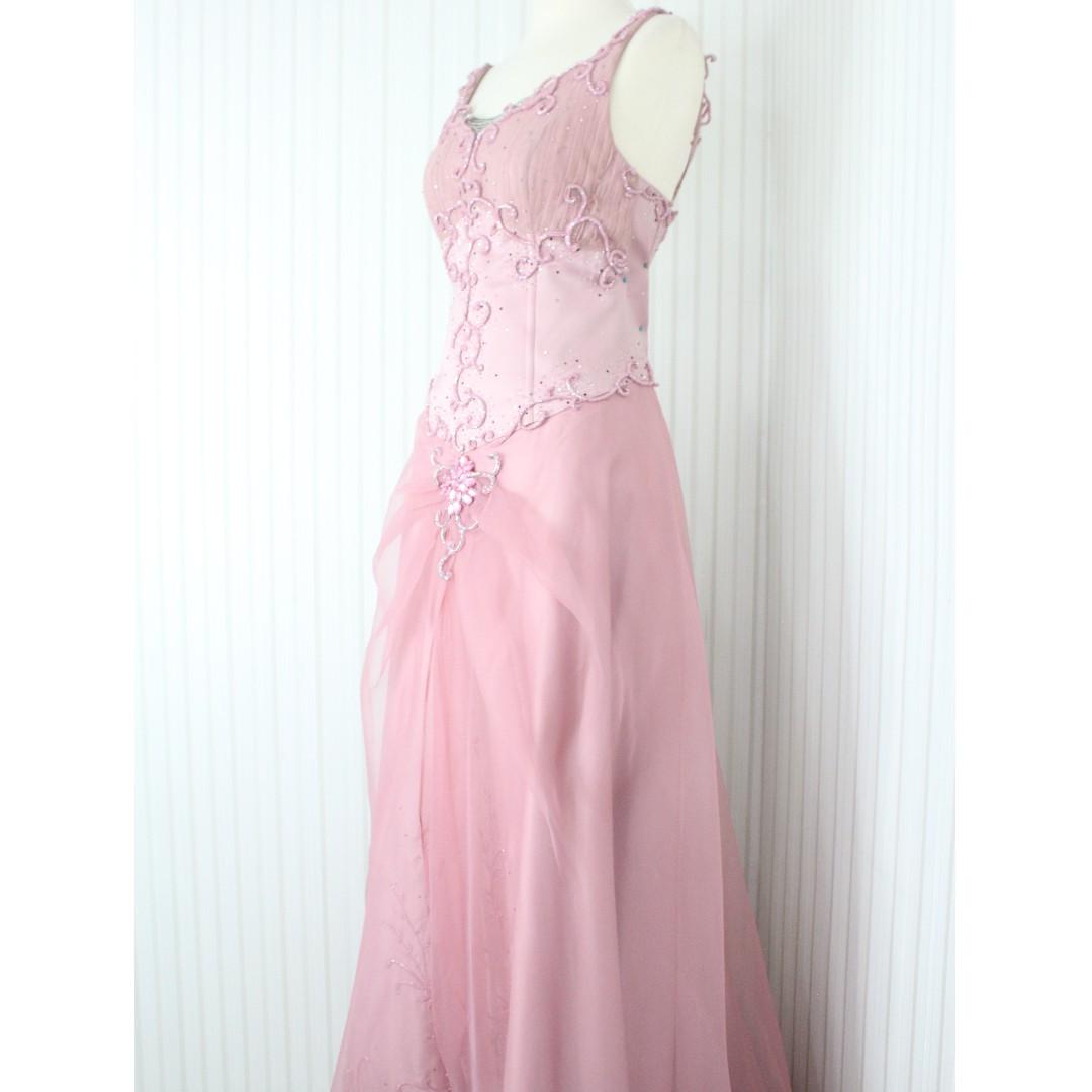 Long Dress Gaun Pesta Warna Dusty Pink Kode 9042 Olshop Fashion