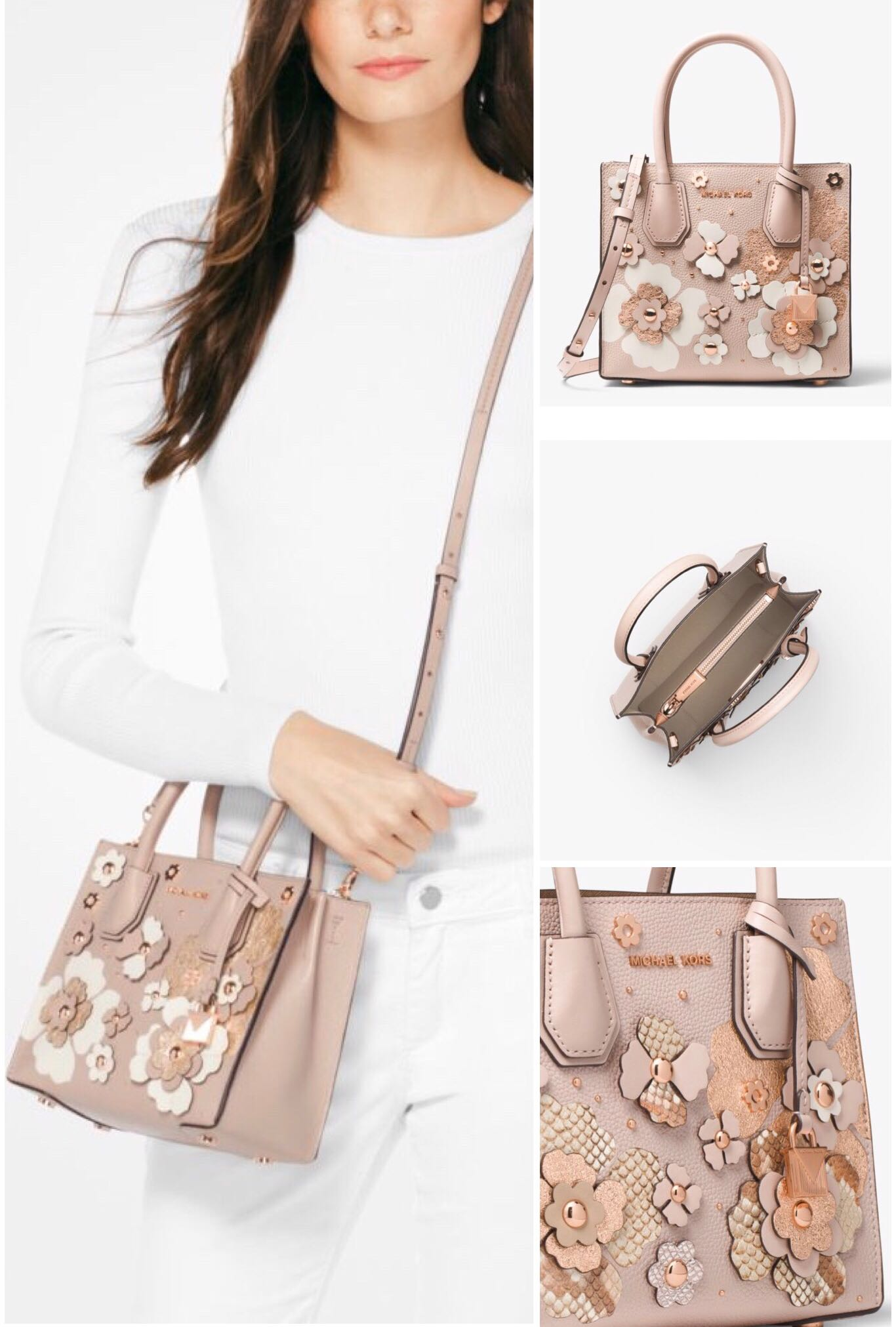 9e7298557681 MICHAEL KORS Mercer Floral Embellished Leather Crossbody, Luxury, Bags &  Wallets on Carousell