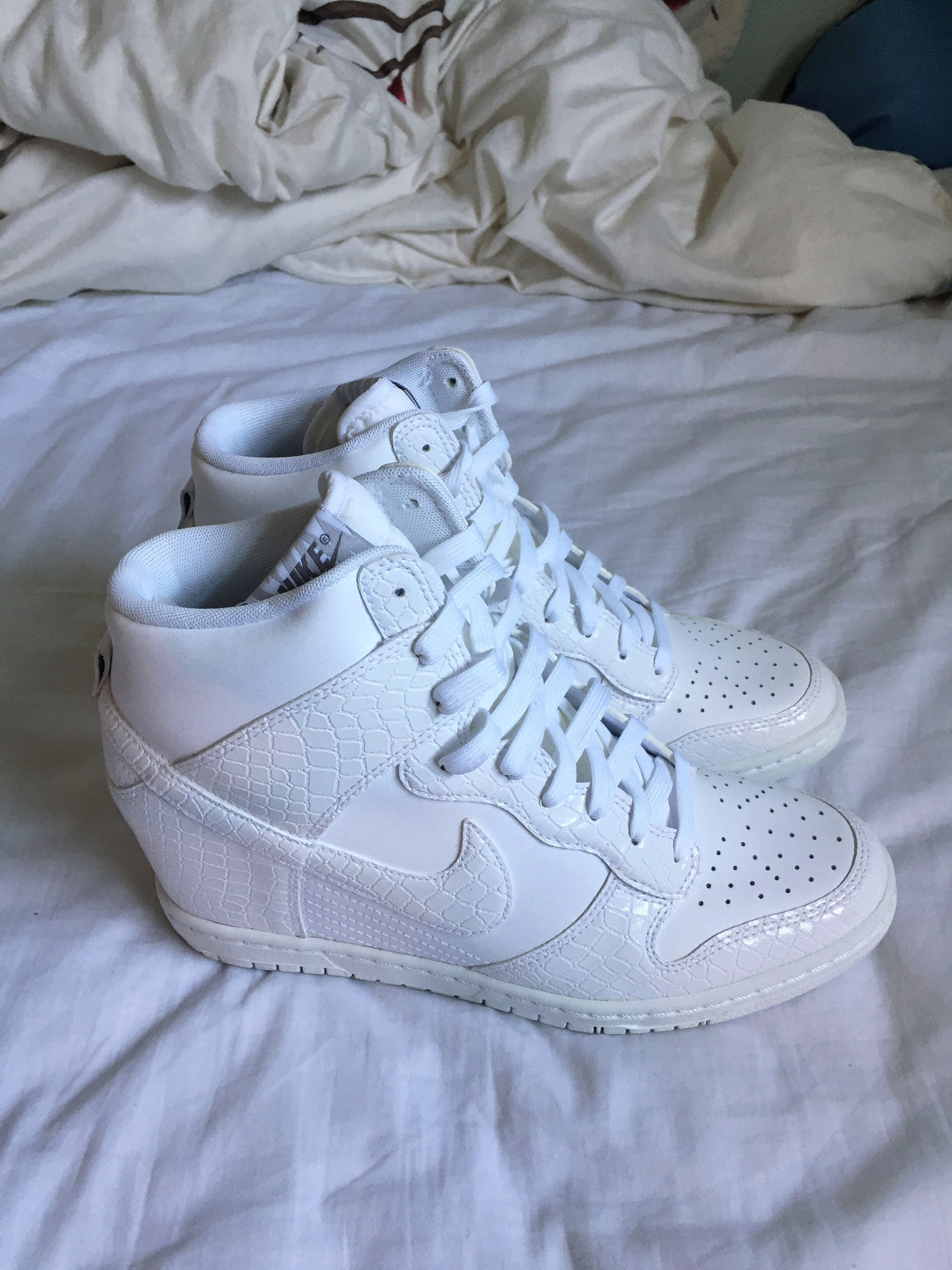 cd4d12e29a8 Nike Dunk Sky Hi White Wedge Sneakers