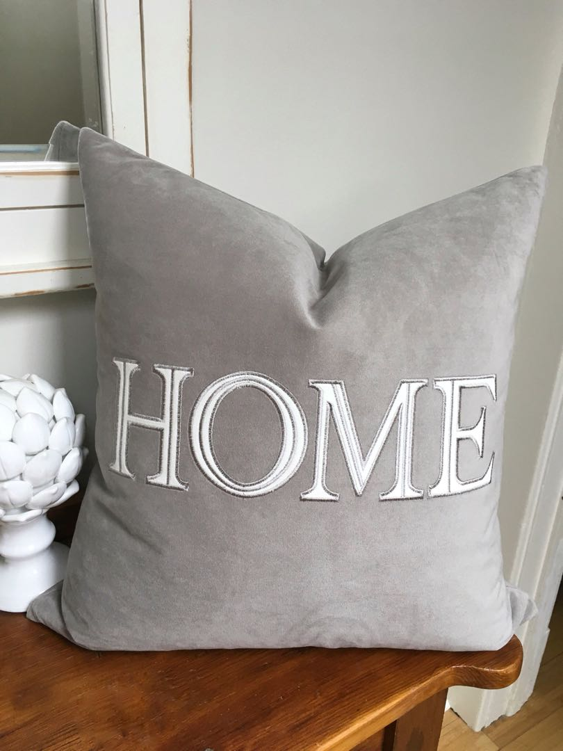 """One brand new tags off gorgeous down filled 20""""x 20""""grey soft velvet """"HOME""""cushion"""