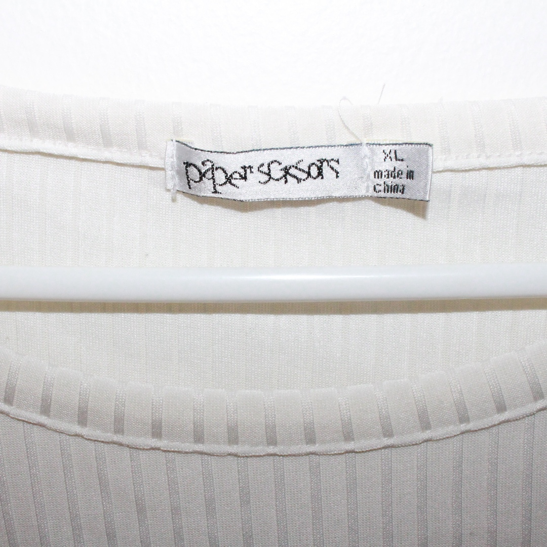 Paper scissors white crop top