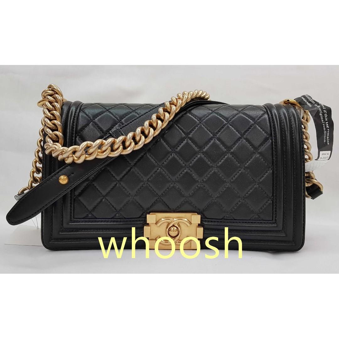 62c69c3ce4 Pre-loved Chanel Boy Old Medium Black Lambskin Bag Aged GHW